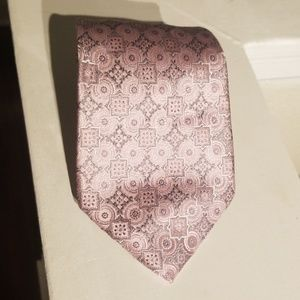 Men's pink and silver silk tie Geoffrey Beene